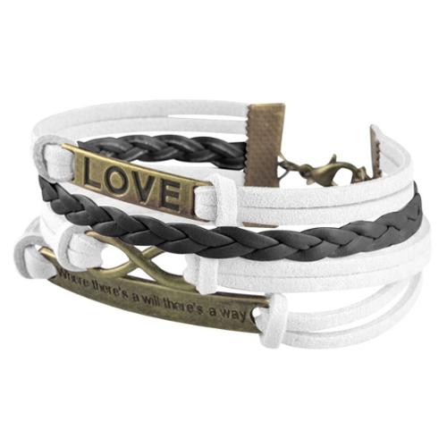Zodaca Fashion Leather Cute Infinity Charm Bracelet Jewelry Silver lots White/Black Love