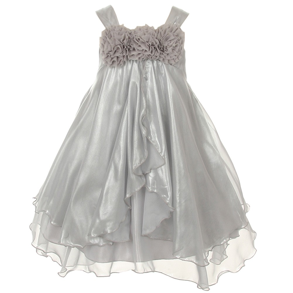 Kids Dream Girls Silver Shiny Chiffon Special Occasion Dress 9/10