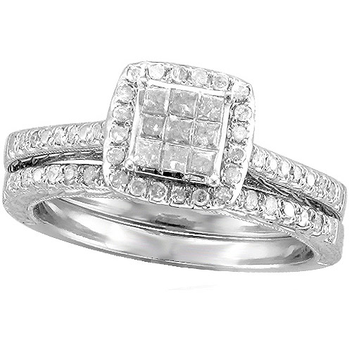 Forever Bride 1/2 Carat T.W. Diamond Sterling Silver Bridal Set