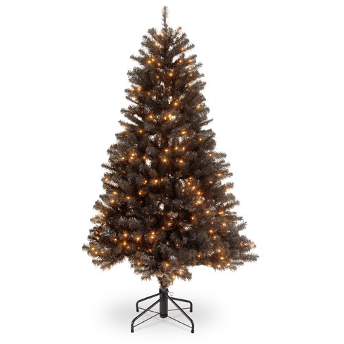 The Holiday Aisle North Valley  4.5' Black Spruce Artificial Christmas Tree with 200 Clear Lights with Stand