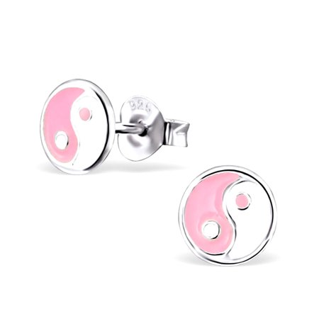 Childrens Pink & White Yin & Yang Design Sterling Silver Stud Post Earrings