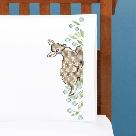 Herrschners® Fawn Pillowcase Pair Stamped Cross-Stitch