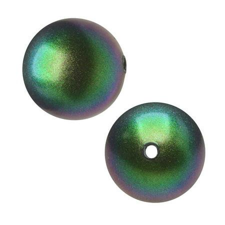 Swarovski Crystal, #5810 Round Faux Pearl Beads 5mm, 50 Pieces, Scarabaeus Green