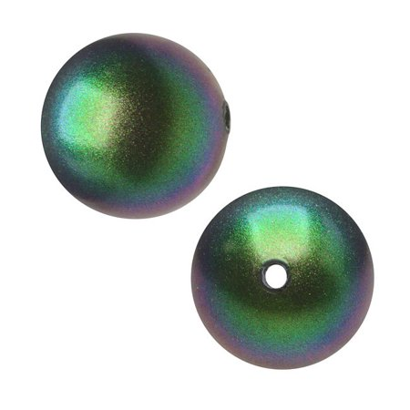 Crystal Dark Grey Pearl - Swarovski Crystal, #5810 Round Faux Pearl Beads 5mm, 50 Pieces, Scarabaeus Green
