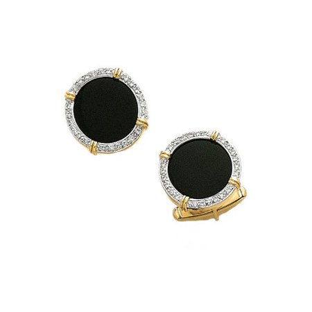 14K Yellow Gold Black Onyx Diamond Cufflinks .48 ct.-89286
