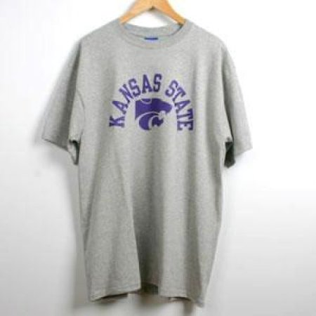 Kansas State T-shirt By Champion - Arched Kansas State Over Powercat Logo - Oxford - K State Powercat