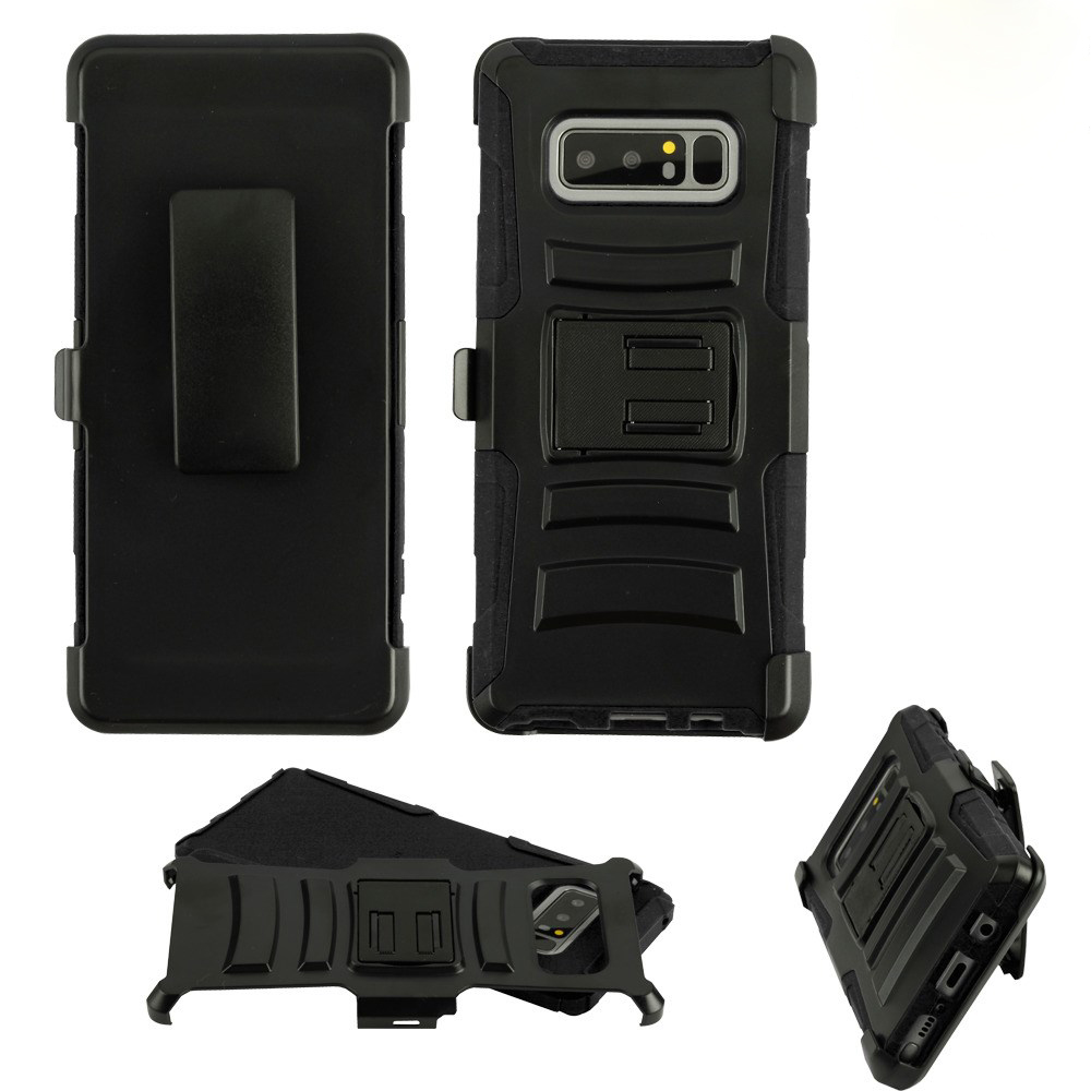 Kaleidio Case For Samsung Galaxy Note 8 [Dual Form] Rugged Holster [Swivel Belt Clip][Shock Absorption] Dual Layer Hybrid [Kickstand] Armor Cover w/ Overbrawn Prying Tool [Black/Black]