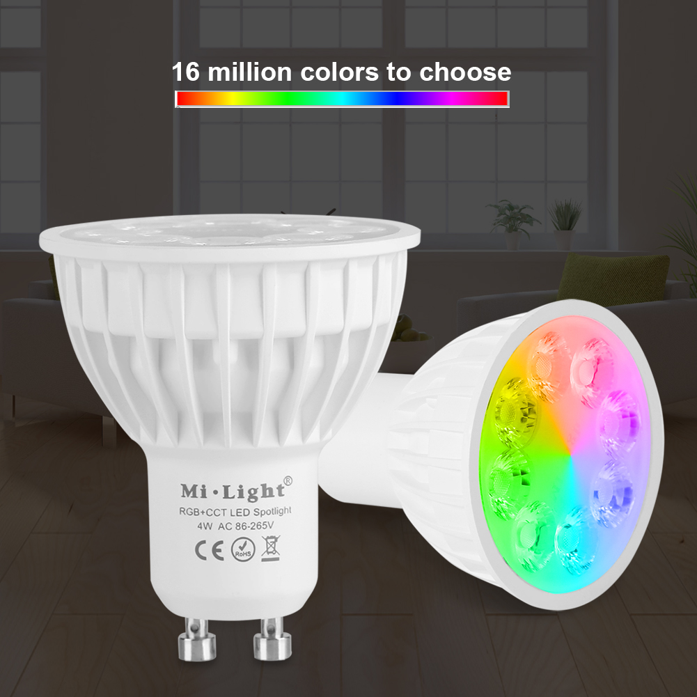 Wireless Led Bulb Spotlight E27 GU10 4W LED Light RGB with CCT Bulb Lamp Decor Dimmable Color Changing  LED Light  Must Work With RGB+CCT Remote