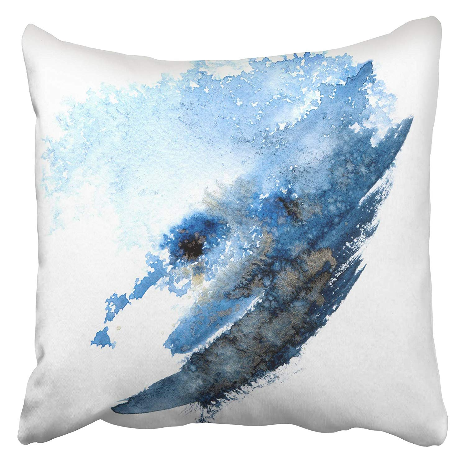 USART Dye Blue Watercolor Abstract with Gold Indigo Tie Artistic Batik Color Graphic Ink Pillow Case Cushion Cover 18x18 inch