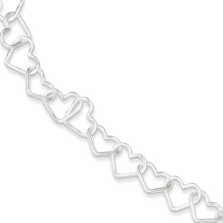 Sterling Silver 11mm Polished Fancy Large Heart Link Bracelet