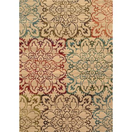 Style Haven Everleigh Floral Impressions Beige/ Multi Area Rug - 3'10  x 5'5  Instant style points are gained with the addition of this oversized floral patterned area rug in rich hues of red, green, brown and blue on a neutral background. Machine-woven of 100% polypropylene this rug will offer durable comfort for years to come.Machine wovenDurable with easy care and cleaningPrimary materials: 100 percent polypropyleneLatex: NoPile height: .32 inchesStyle: TransitionalPrimary color: IvorySecondary colors: Red, blue, brown, green and orangePattern:  FloralTip: We recommend the use of a  non-skid pad to keep the rug in place on smooth surfaces.All rug sizes are approximate. Due to the difference of monitor colors, some rug colors may vary slightly. Overstock.com tries to represent all rug colors accurately. Please refer to the text above for a description of the colors shown in the photo.Tip: We recommend the use of a  non-skid pad to keep the rug in place on smooth surfaces.All rug sizes are approximate. Due to the difference of monitor colors, some rug colors may vary slightly. Overstock.com tries to represent all rug colors accurately. Please refer to the text above for a description of the colors shown in the photo.