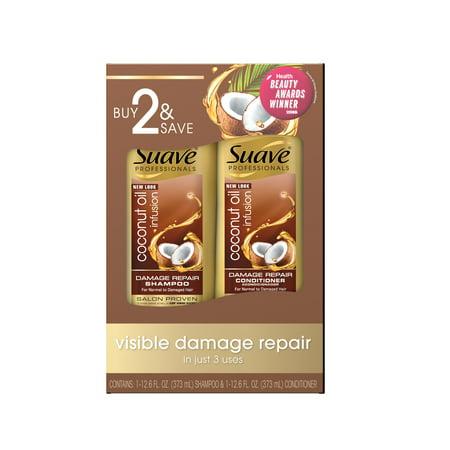 Suave Professionals Shampoo and Conditioner Coconut Oil 12.6 oz, 2 (Best Coconut Shampoo And Conditioner)