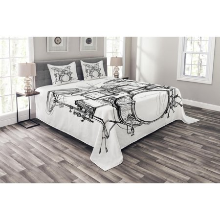 (Rock Music Bedspread Set, Doodle Drawing Sketch Style Drummer Musical Inspirations Monochrome Arrangement, Decorative Quilted Coverlet Set with Pillow Shams Included, Black White, by Ambesonne)