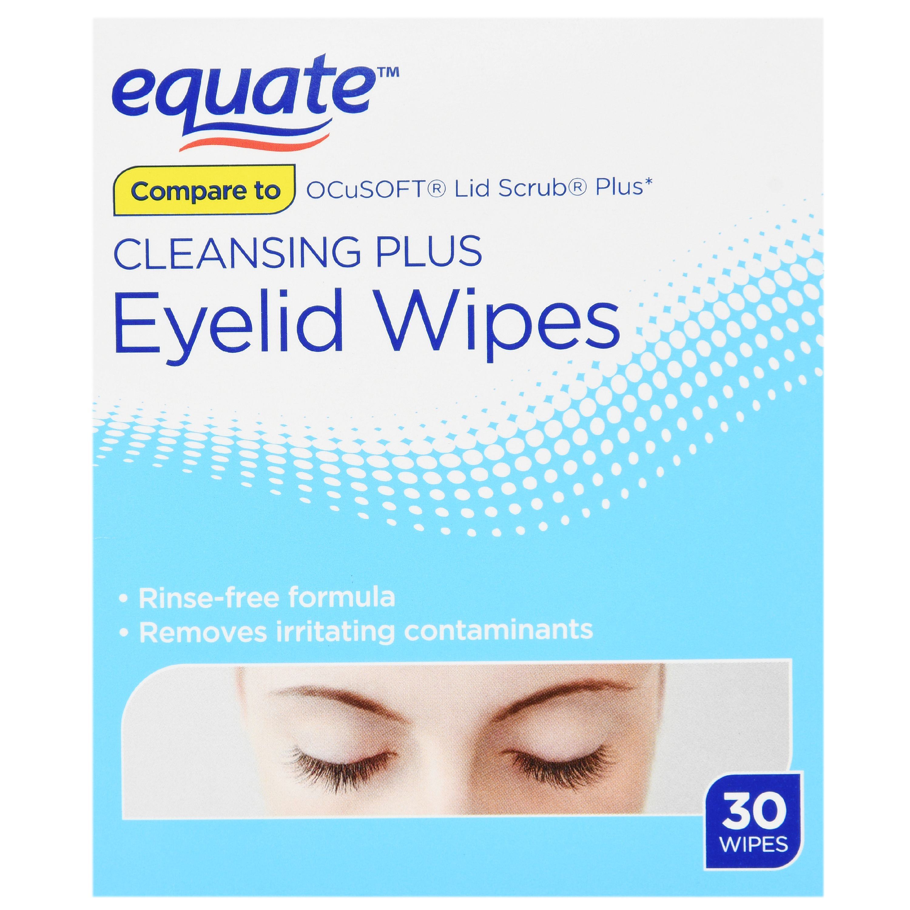 Equate Cleaning Plus Eyelid Wipes, 30 Ct