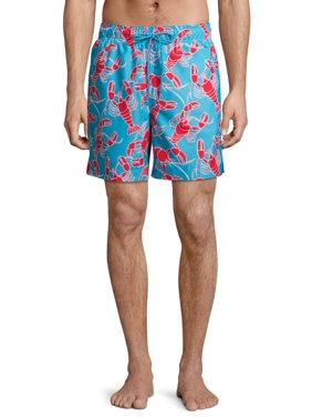 "George Men's and Big Men's 6"" Novelty Swim Trunk with Lobsters, up to Size 3XL"