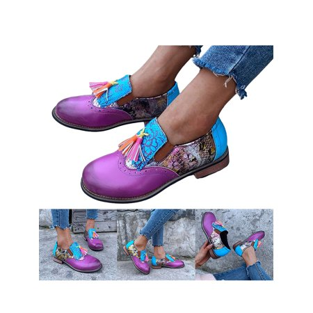 UKAP Womens Tassels Slip On Flats Pumps Platform Ladies Comfy Loafers Work Shoes Block Heel Tassels Casual Shoes Round Toe Non-Slip