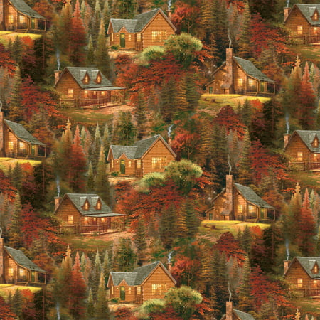 David Textiles Inc Thomas Kinkade Autumn Cabins Cotton