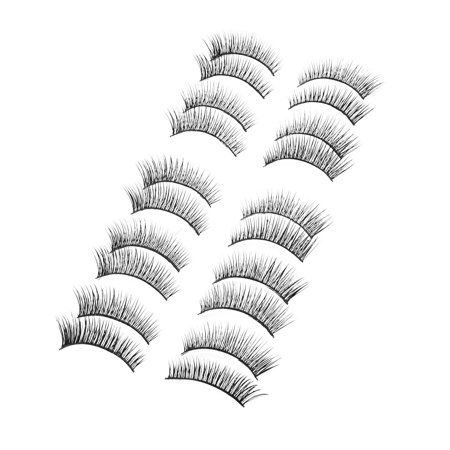 Unique Bargains Soft Natural False Eyelashes Fake Lashes Extension 10 Pairs - Feather Fake Eyelashes