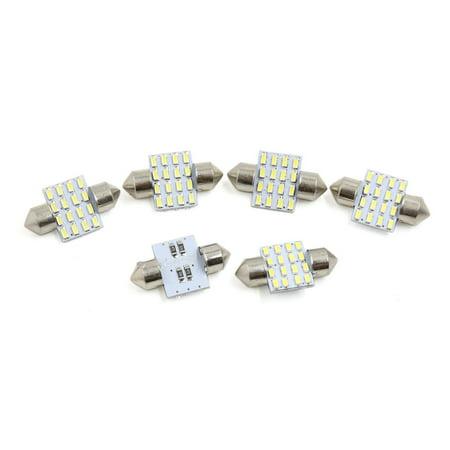 6pcs White 16 LEDs 4014 SMD 31mm Auto Car Festoon Bulb Interior Dome Map Light