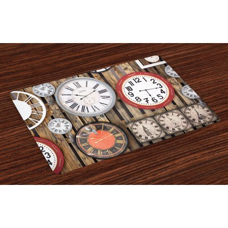 (Clock Placemats Set of 4 Antique Clocks on the Wall Instruments of Time Vintage Design Pattern Artwork, Washable Fabric Place Mats for Dining Room Kitchen Table Decor,Brown and Red, by Ambesonne)