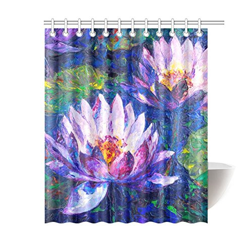 GCKG Romantic Floral Shower Curtain Purple Lotus Flower Lily Polyester Fabric Bathroom Sets With Hooks 60x72 Inches