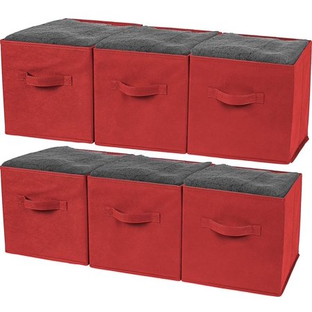 Greenco Foldable Storage Cubes Non-woven Fabric -6 Pack-(Red)