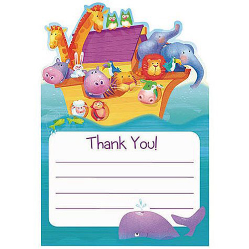 Baby Shower 'Two by Two' Noah's Ark Thank You Notes w/ Envelopes (8ct)