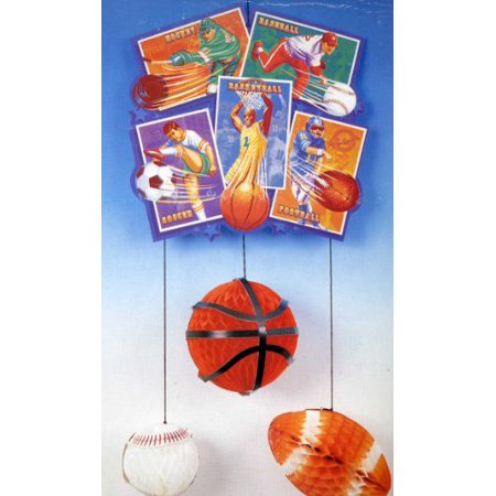 Sports Themed Hanging Mobile Decoration Honeycomb Sports Balls, 24-Inch - Hanging Ball Decorations