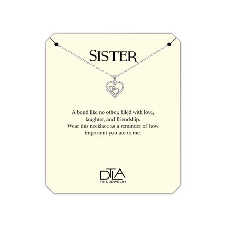 DTLA Sister Heart Necklace in Sterling Silver with Loving Message Card Gift