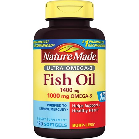 Nature made 1400mg ultra omega 3 fish oil softgels 130 ct for Nature s bounty fish oil review