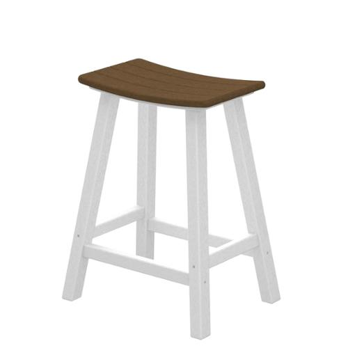 "24.75"" Recycled Earth-Friendly Curved Outdoor Bar Stool - Teak With White Frame"