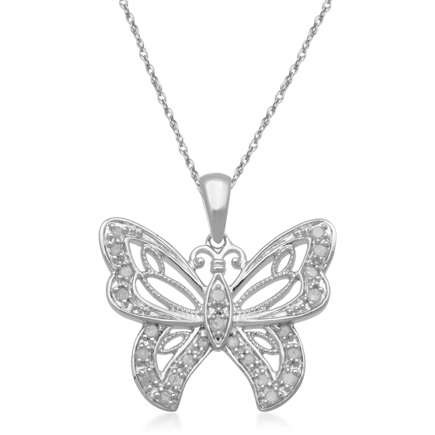 """0.25 Carat T.W. White Diamond 1/2 Micron Yellow Plating over Sterling Silver Butterfly Pendant, 18"""""""