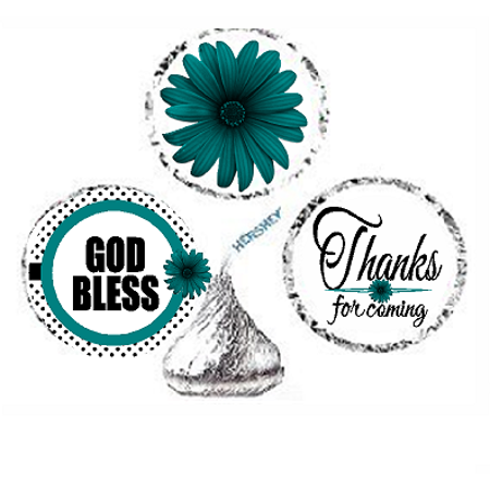 216ct Teal God Bless Religious Baptism Communion Party Favor Hersheys Kisses Candy Decoration Stickers / Labels](First Communion Party Decorations)