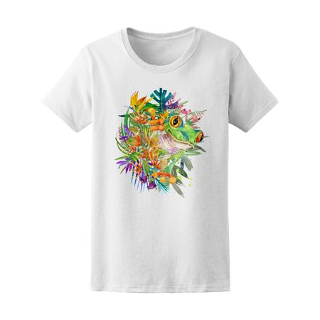 Frog Tropical Flower Paradise Tee Women's -Image by Shutterstock - Tropical Shirts Womens