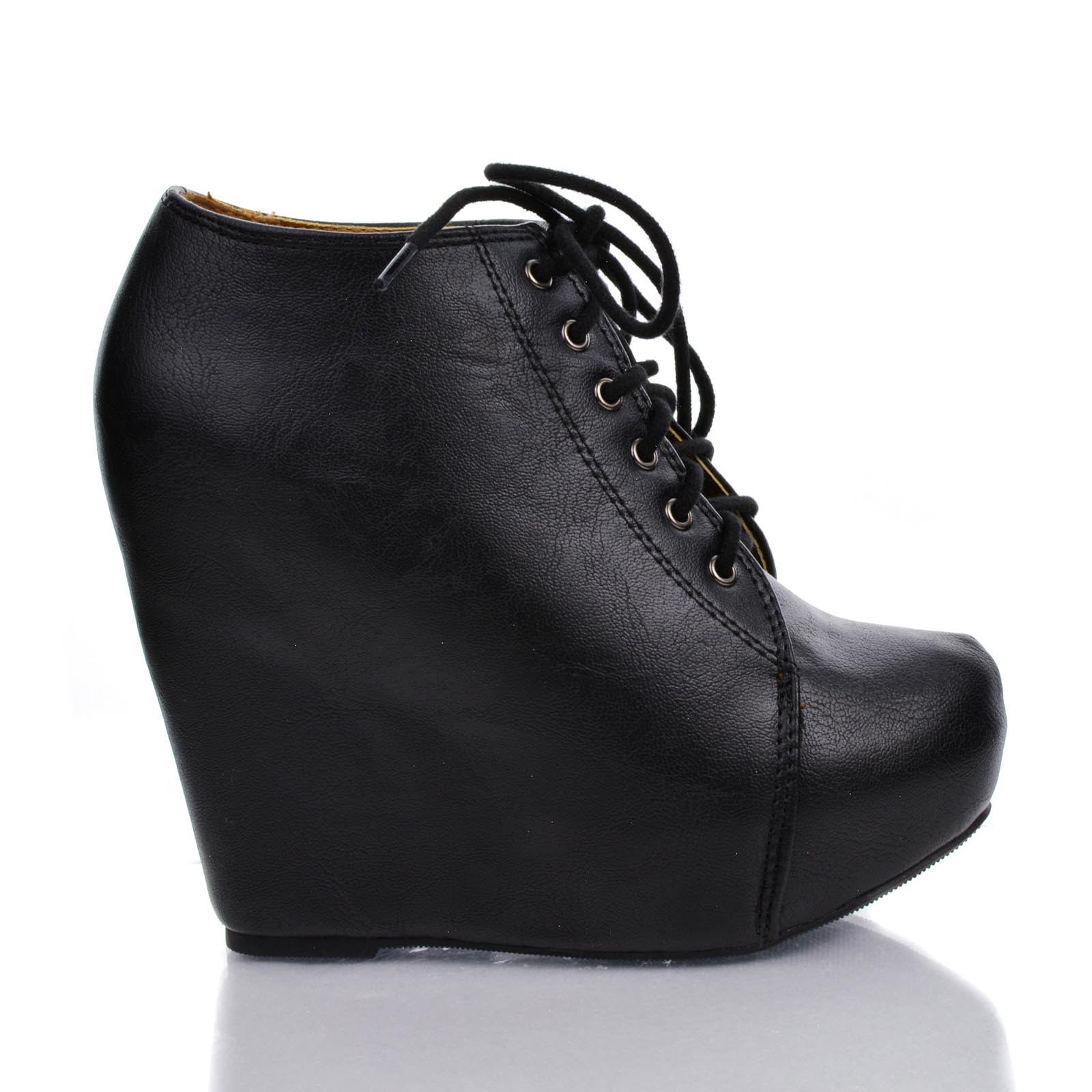 Jello by Soda, Pointed Toe Lace Up Ankle Platform High Hi...