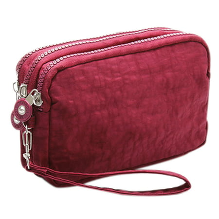 Lady Phone Wallet Package 3 Layers Handbag Cross Section Clutch Bag Large Capacity Valentines Gift Red
