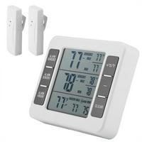 Wireless Digital Audible Alarm Refrigerator Thermometer with 2PCS Sensor Min/Max Display, Digital Alarm Thermometer,Therometer