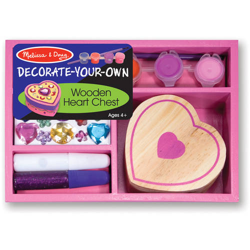 Melissa & Doug Decorate-Your-Own Wooden Heart Box Craft Kit