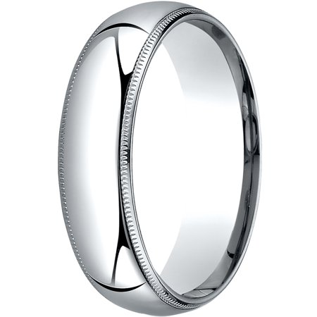 Mens 14K White Gold, 6mm Slim Profile Comfort-Fit Wedding Band with