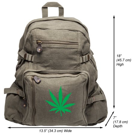 Marijuana Cannabis Leaf Military Hiking School Backpack