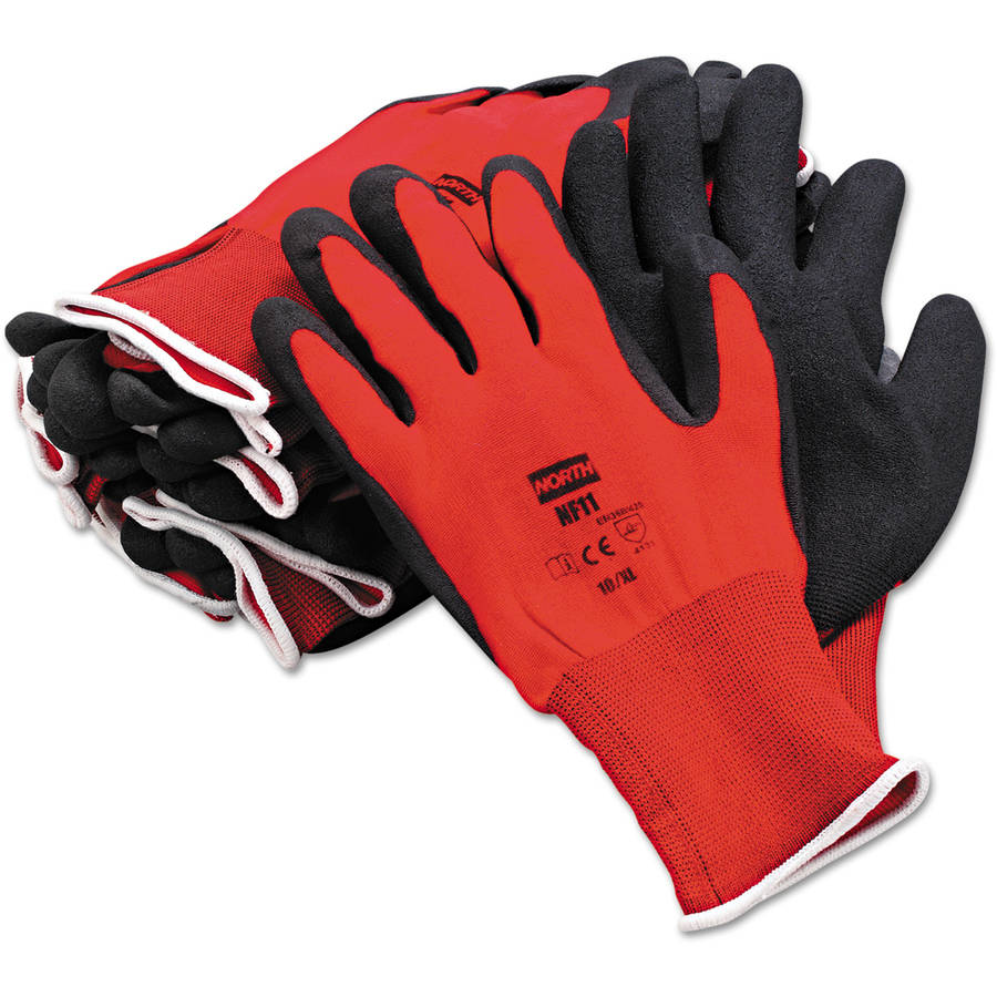 North Safety NorthFlex Red Foamed PVC Gloves, Red/Black, Size 10XL
