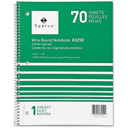 (2 Pack) Sparco Quality Wirebound Wide Ruled Notebooks