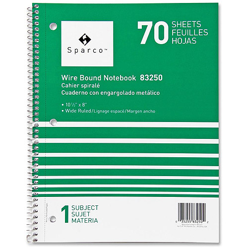 Sparco Quality Wirebound Wide Ruled Notebooks