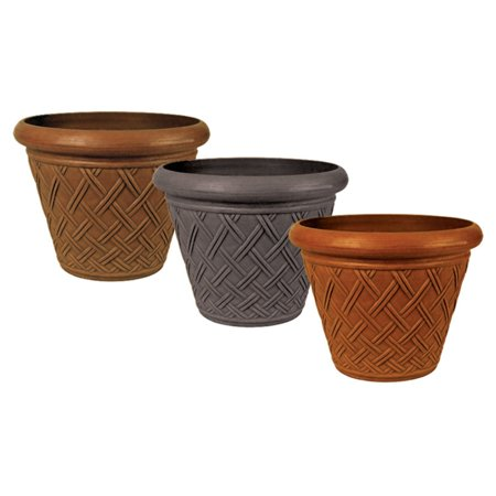 - Arcadia Garden Basketweave Pot 18 diam. x 14H in.