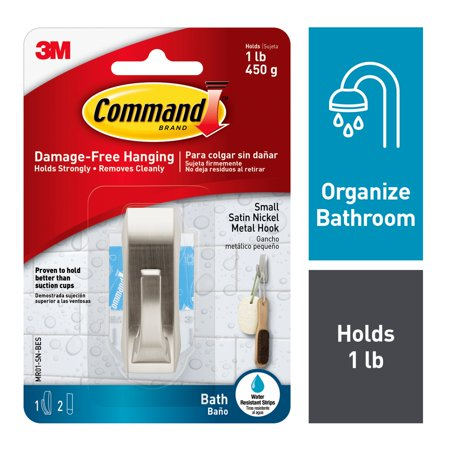 Command Modern Reflections Hook with Water Resistant Strips, Satin Nickel, Small, 1 Hook, 2 Strips/Pack](Mr Smee Hook)