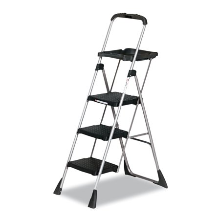 Pull Down Ladder - Cosco Max Work Steel Platform Ladder, 22w x 31d x 55h, 3-Step, Black