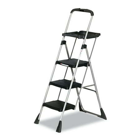 Steel Fixed Ladder - Cosco Max Work Steel Platform Ladder, 22w x 31d x 55h, 3-Step, Black
