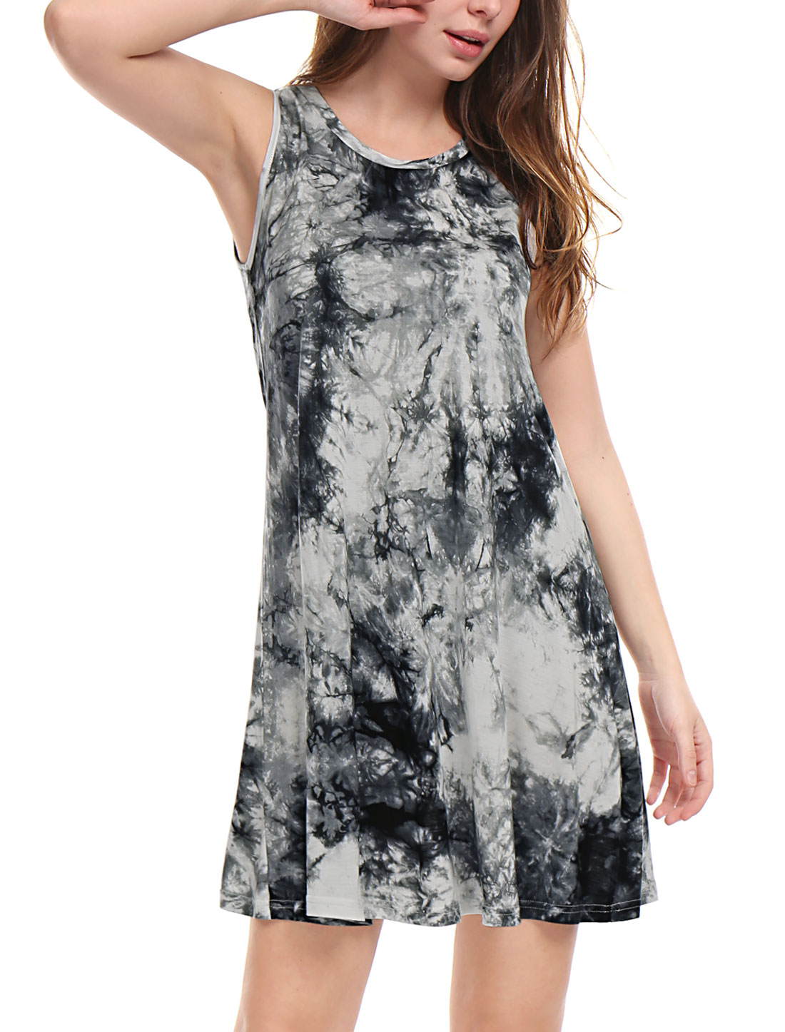 Unique Bargains Women Dress Above Knee Tie-Dye Dress Black L (US 14)