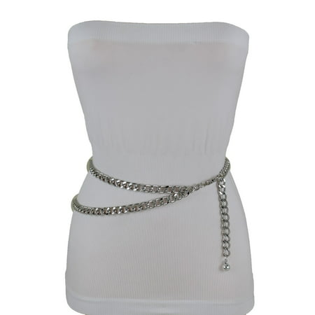 New Women Belt Silver Thick Metal Chunky Chain Link Side Wave Detail Fashion Accessories