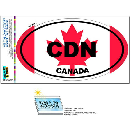 Canada Country Flag CDN Euro Oval Canadian Flag Automotive Car Window Locker Bumper Sticker